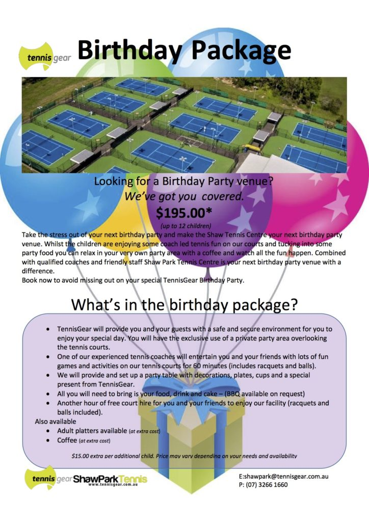 Shaw Park Birthday Package